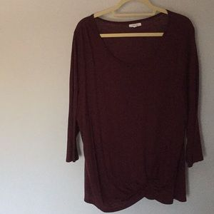 Maurices Plus Size Burgundy 3/4 Sleeve Top